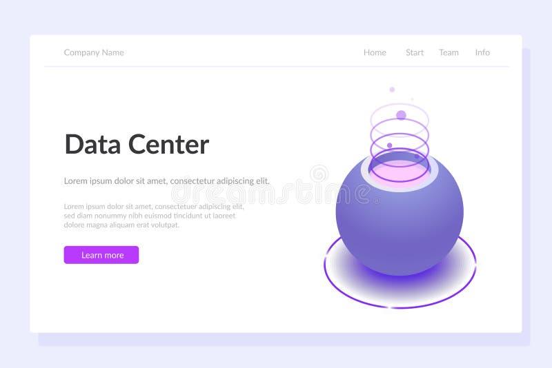 Calibre de Web de concept de Data Center Illustration 3d editable isom?trique Ou assistant de voix violet illustration de vecteur
