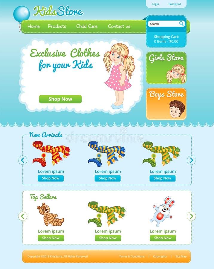 Calibre de Web pour la boutique en ligne d'enfant illustration stock