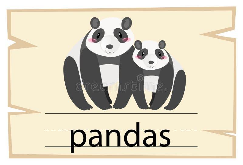 Calibre de Wordcard pour des pandas de mot illustration de vecteur