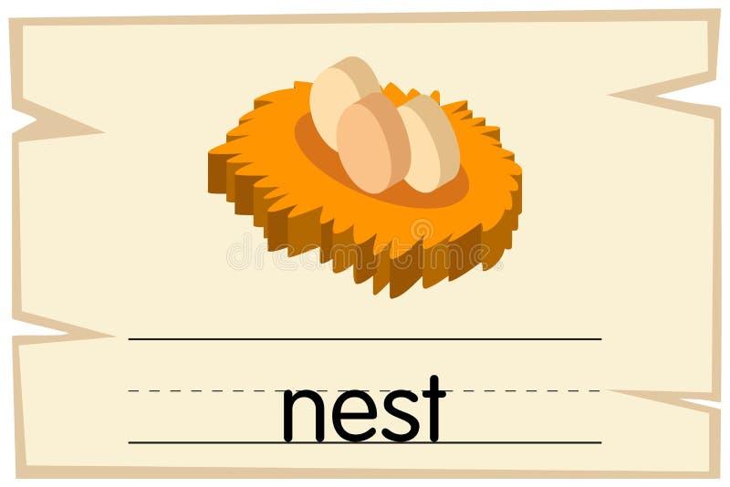 Calibre de Wordcard pour le nid de mot illustration stock
