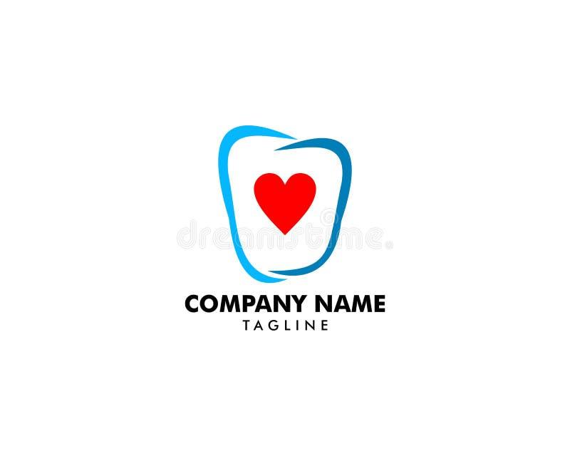 Calibre dentaire de conception de logo d'amour illustration libre de droits