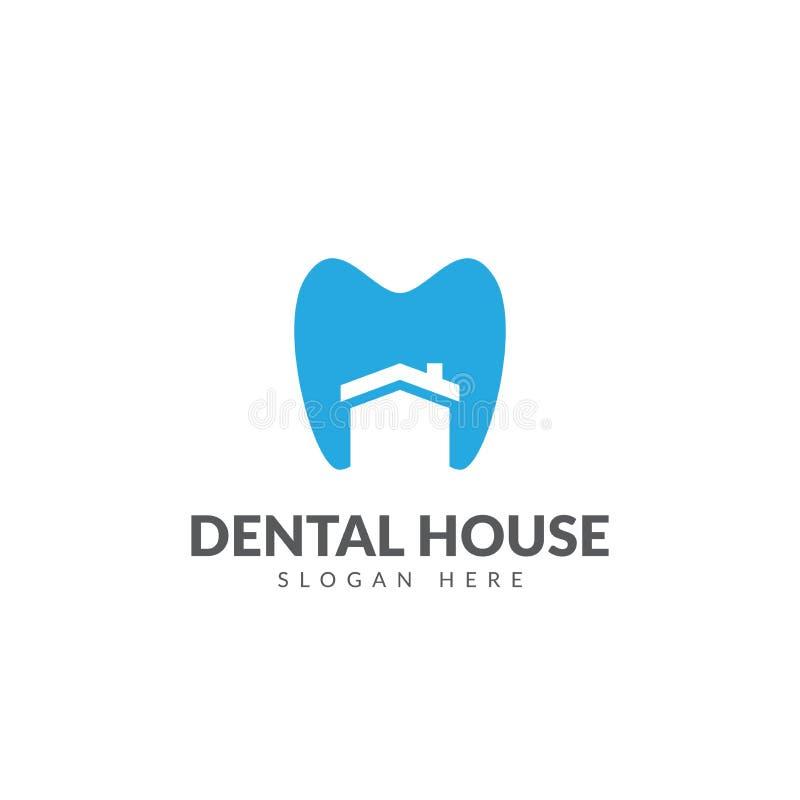 Calibre dentaire de conception de vecteur de logo de maison illustration stock