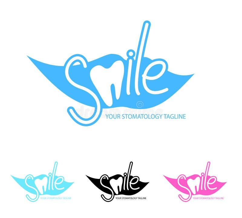 Calibre dentaire de logo de clinique avec l'icône de dent illustration de vecteur