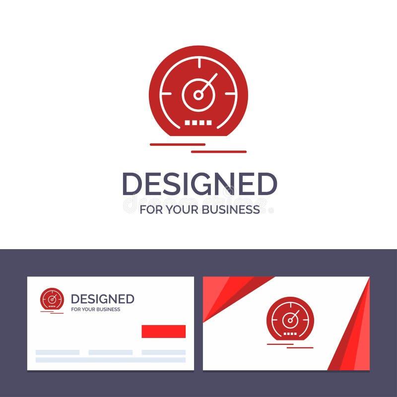 Calibre do molde criativo do cartão e do logotipo, painel, medidor, velocidade, ilustração do vetor do velocímetro ilustração royalty free