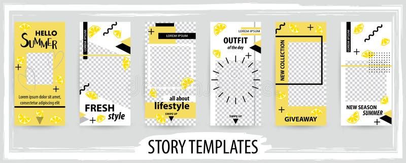 Calibre editable à la mode pour des histoires sociales de réseaux illustration de vecteur