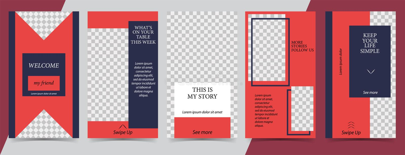 Calibre editable à la mode pour des histoires sociales de réseaux, histoires d'instagram, illustration de vecteur Milieux de conc illustration stock