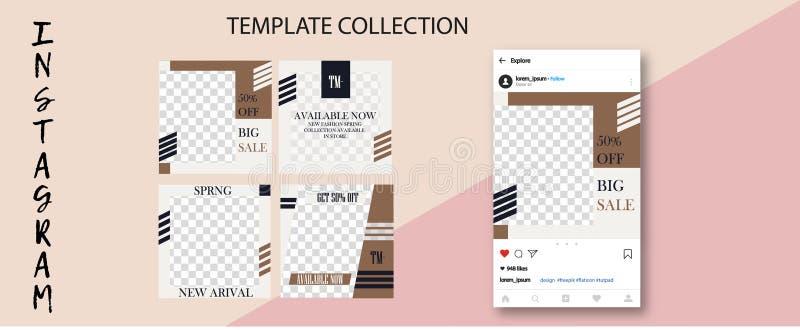 Calibre Editable commercial d'histoires d'Instagram Calibre pour le réseau social de media Vente couler illustration stock