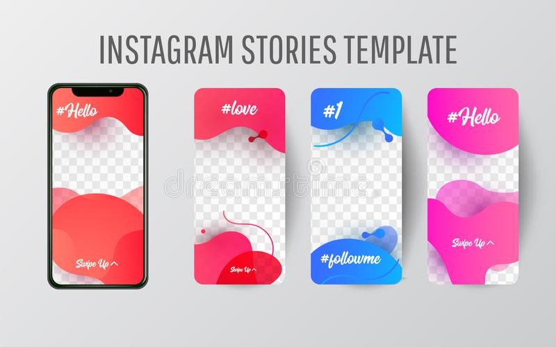 Calibre Editable d'histoires d'Instagram couler illustration stock