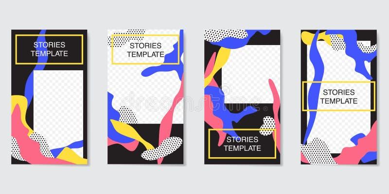 Calibre Editable d'histoires d'Instagram couler Collection créative de personnes illustration libre de droits