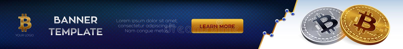 Calibre editable de bannière de Cryptocurrency Bitcoin pièce de monnaie physique isométrique du peu 3D Bitcoins d'or et argentés  illustration libre de droits