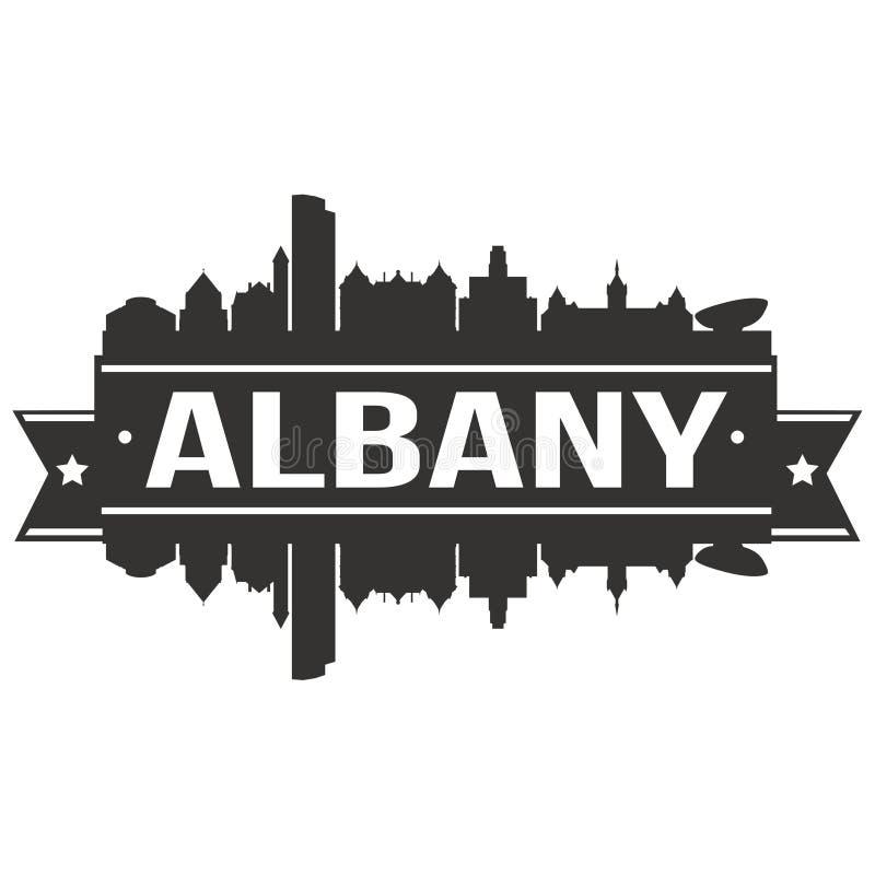 Calibre Editable de silhouette d'Art Design Skyline Flat City de vecteur d'icône d'Albany New York Etats-Unis d'Amérique Etats-Un illustration stock