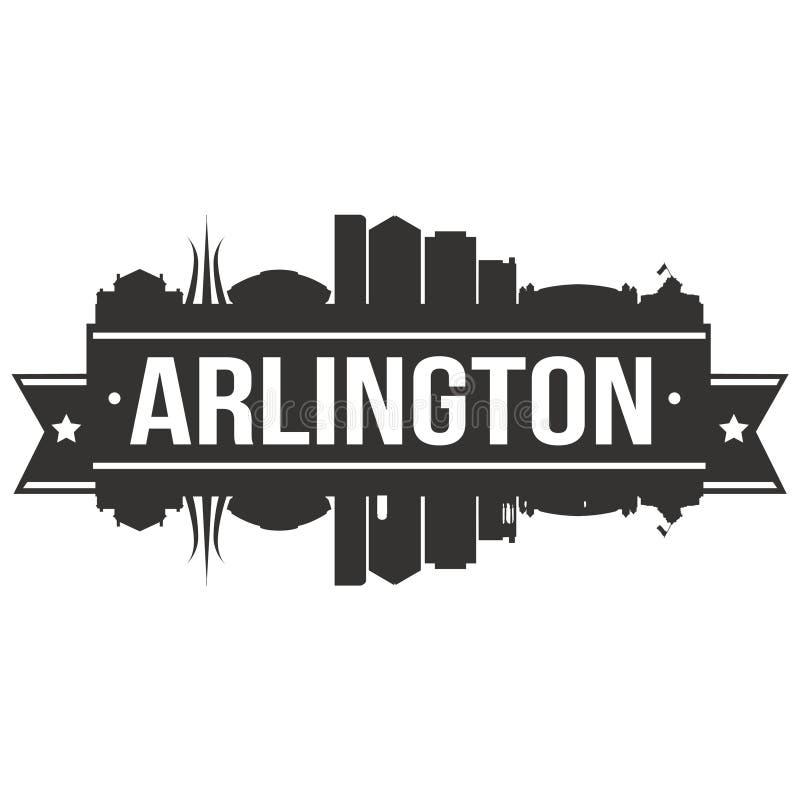 Calibre Editable de silhouette d'Art Design Skyline Flat City de vecteur d'icône d'Arlington Texas United States Of America Etats illustration de vecteur