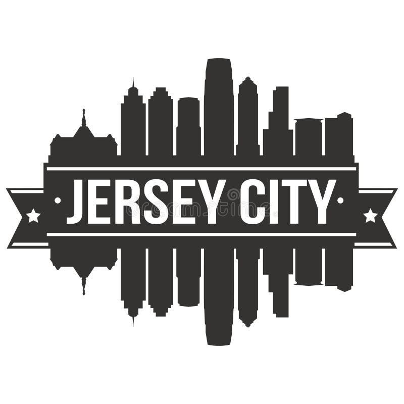 Calibre Editable de silhouette d'Art Design Skyline Flat City de vecteur d'icône de Jersey City New York Etats-Unis d'Amérique illustration libre de droits