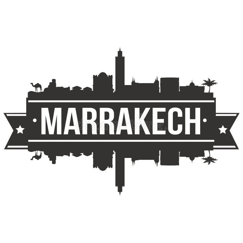 Calibre Editable de silhouette d'Art Design Skyline Flat City de vecteur d'icône de Marrakech Maroc Afrique illustration de vecteur