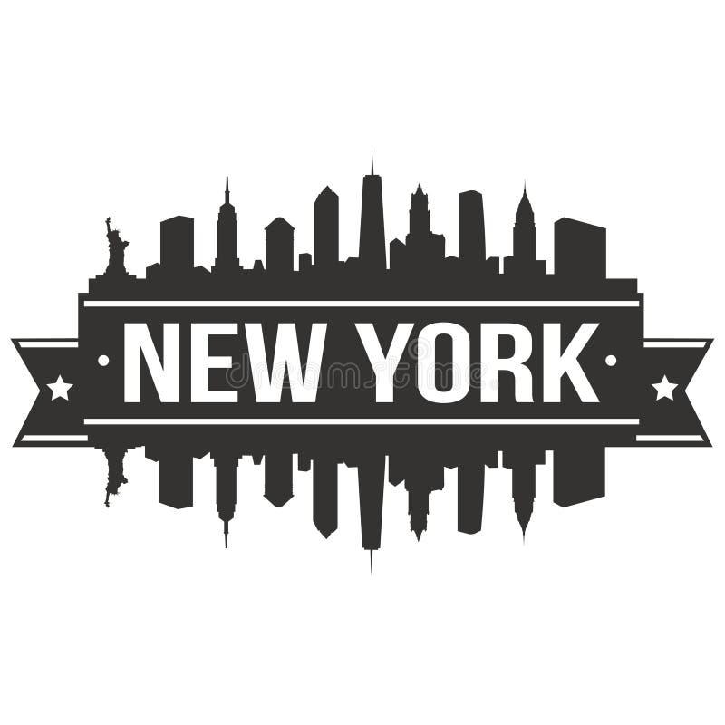 Calibre Editable de silhouette d'Art Design Skyline Flat City de vecteur d'icône de New York Etats-Unis d'Amérique Etats-Unis illustration libre de droits