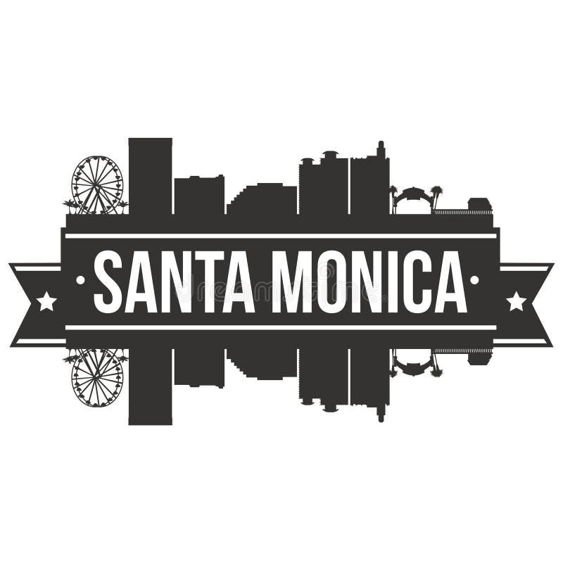 Calibre Editable de silhouette d'Art Design Skyline Flat City de vecteur d'icône de Santa Monica California United States Of Amér illustration de vecteur