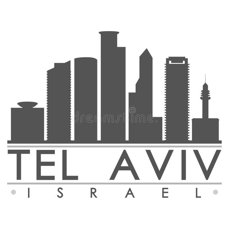 Calibre Editable de silhouette plate de ville d'horizon de conception de téléphone Aviv Israel Asia Icon Vector Art illustration libre de droits