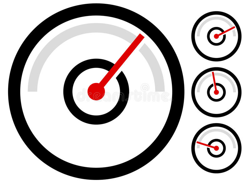 Calibre el símbolo del metro, icono en 4 etapas indicador de presión, odómetro, stock de ilustración