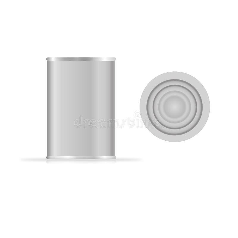 Calibre en boîte de vecteur d'emballage en métal pour votre conception L'aluminium en boîte pour la nourriture, le paquet en acie illustration libre de droits