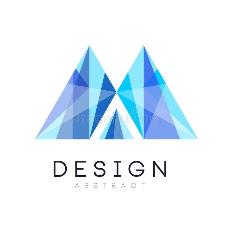 Calibre en cristal créatif de logo Emblème abstrait dans la couleur de bleu de gradient Conception originale de vecteur pour des  illustration libre de droits