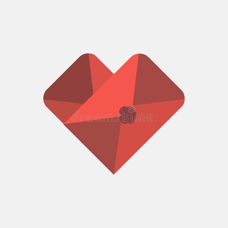 Calibre en forme de coeur de conception d'icône de courrier d'enveloppe Signe coloré Peut être employée médical, en datant, le jo illustration de vecteur