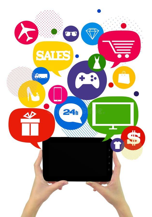 Calibre en ligne d'affaires d'achats ou de boutique. illustration libre de droits