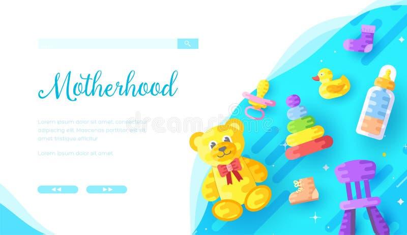 Calibre en ligne de page d'atterrissage de magasin de produits de Childcare illustration stock
