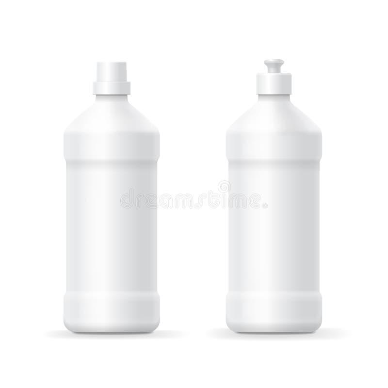 Calibre en plastique vide blanc de bouteille pour le liquide de vaisselle ou de nettoyage illustration libre de droits
