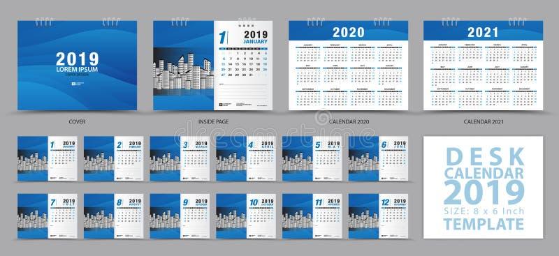Calibre 2019, ensemble de 12 mois, calendrier 2019, 2020, 2021 illustrations, planificateur, débuts de calendrier de bureau de se illustration libre de droits