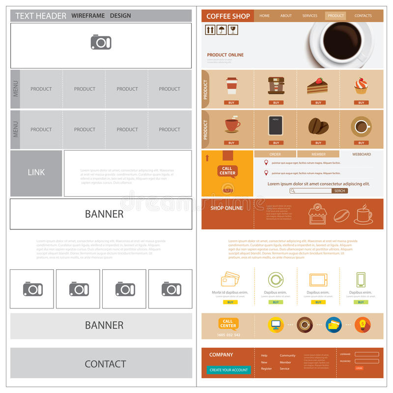 Calibre et moquerie de wireframe de site Web  illustration stock
