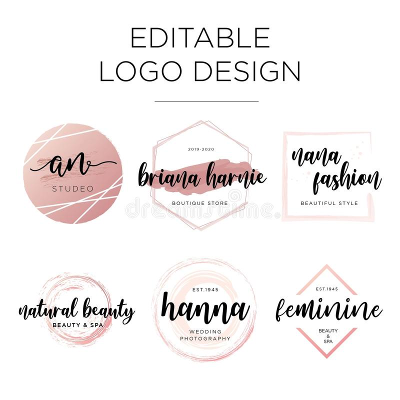 Calibre féminin Editable de conception de logo illustration libre de droits