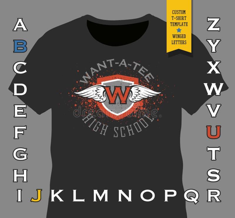Calibre fait sur commande de conception de T-shirt Conception à ailes d'emblème de bouclier illustration de vecteur