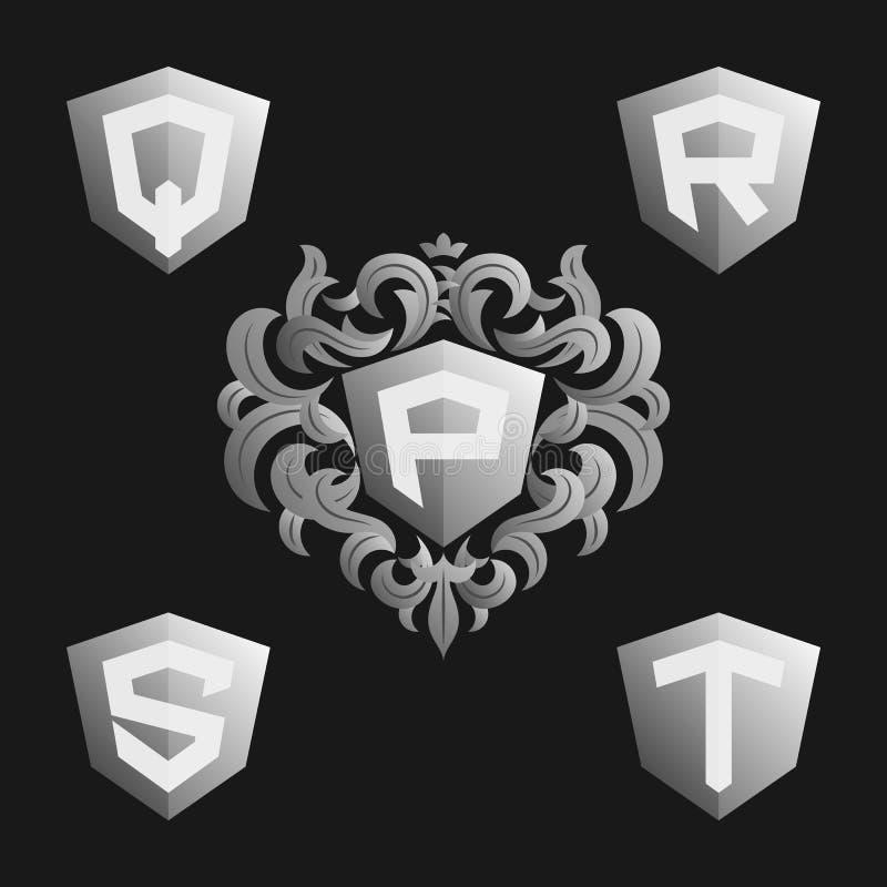 Calibre fleuri décoratif d'emblème de monogramme Ensemble élégant de monogrammes de vecteur illustration libre de droits