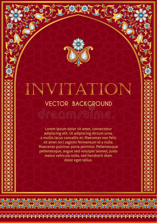 Calibre fleuri d'invitation en rouge et or illustration stock