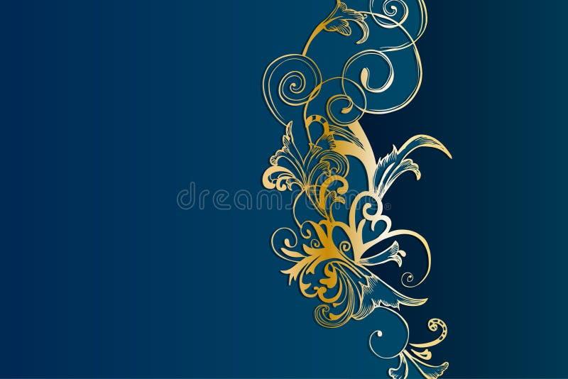 Calibre floral d'or et bleu-clair occidental de fond illustration de vecteur