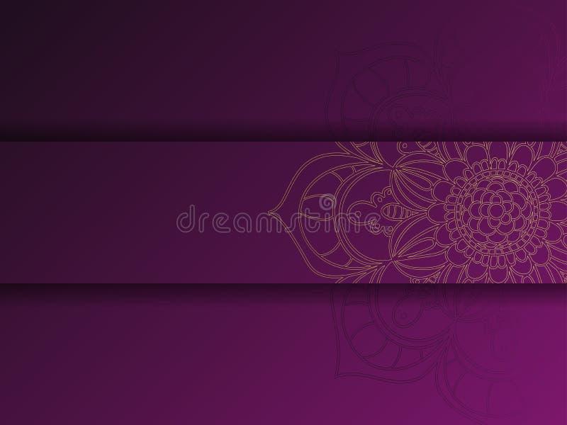 Calibre floral d'or et pourpre occidental de carte de voeux, texture de tournesol illustration libre de droits