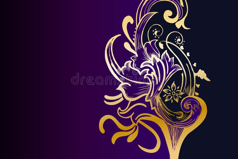 Calibre floral d'or et pourpre occidental de fond illustration de vecteur