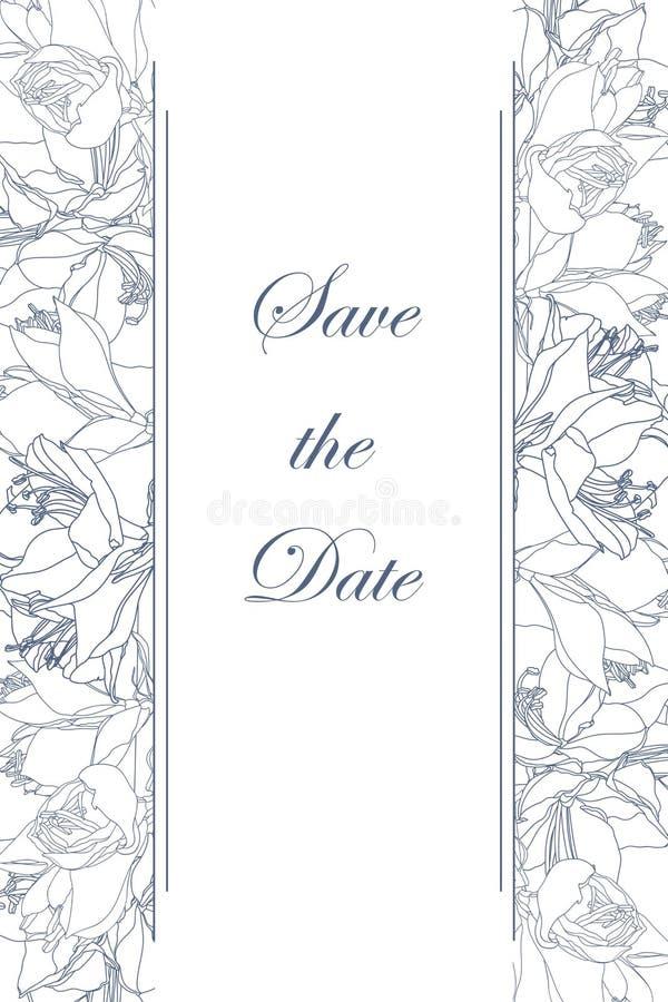 Calibre floral de cadre de frontière de ressort avec le coin décoré Les lis rayent des fleurs illustration stock