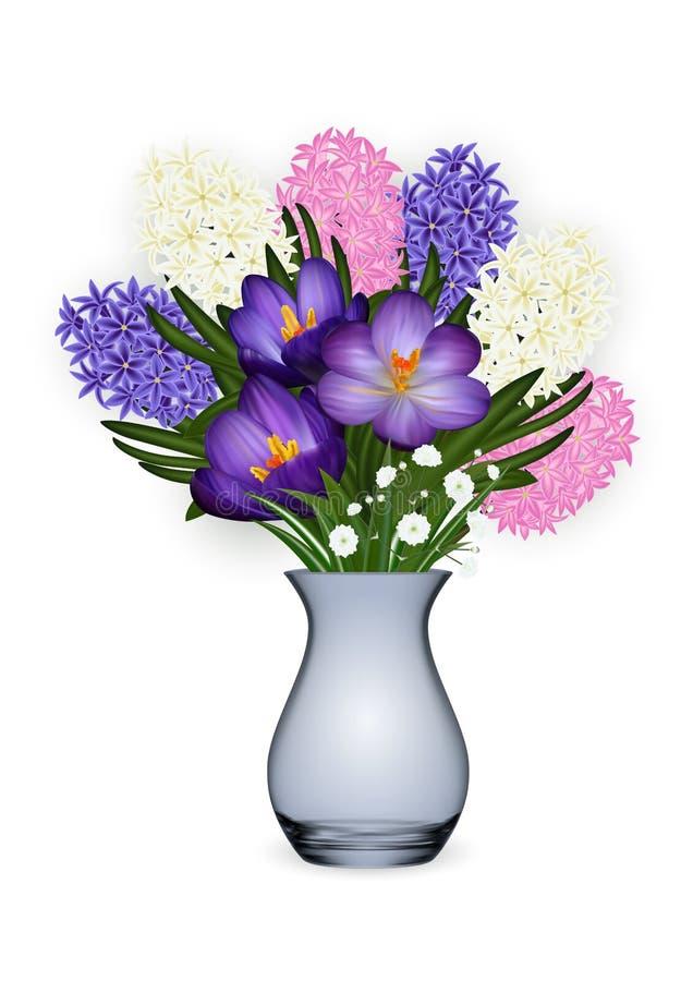 Calibre floral de carte avec des fleurs de jacinthe et de crocus illustration de vecteur