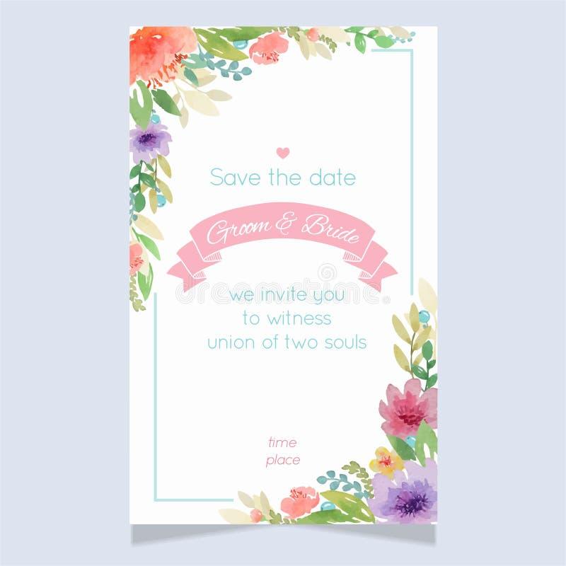 Calibre floral de carte d'invitation de mariage d'aquarelle illustration libre de droits
