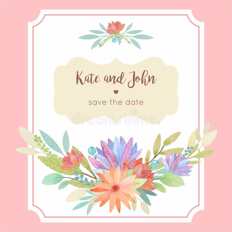 Calibre floral de carte d'invitation de mariage d'aquarelle avec le cadre illustration stock