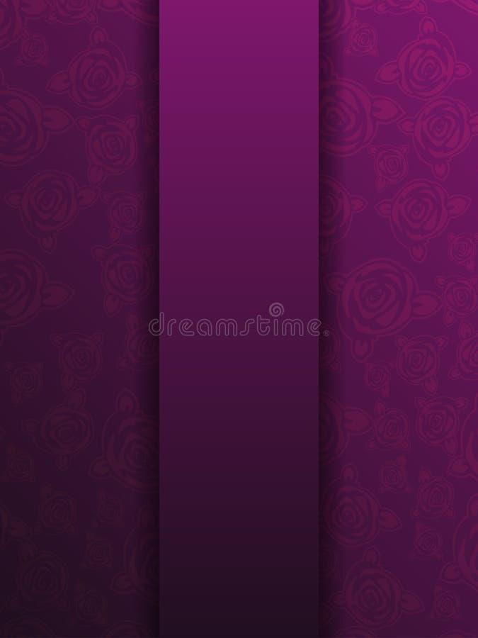 Calibre floral pourpre occidental de carte de voeux, Rose, romantique illustration de vecteur