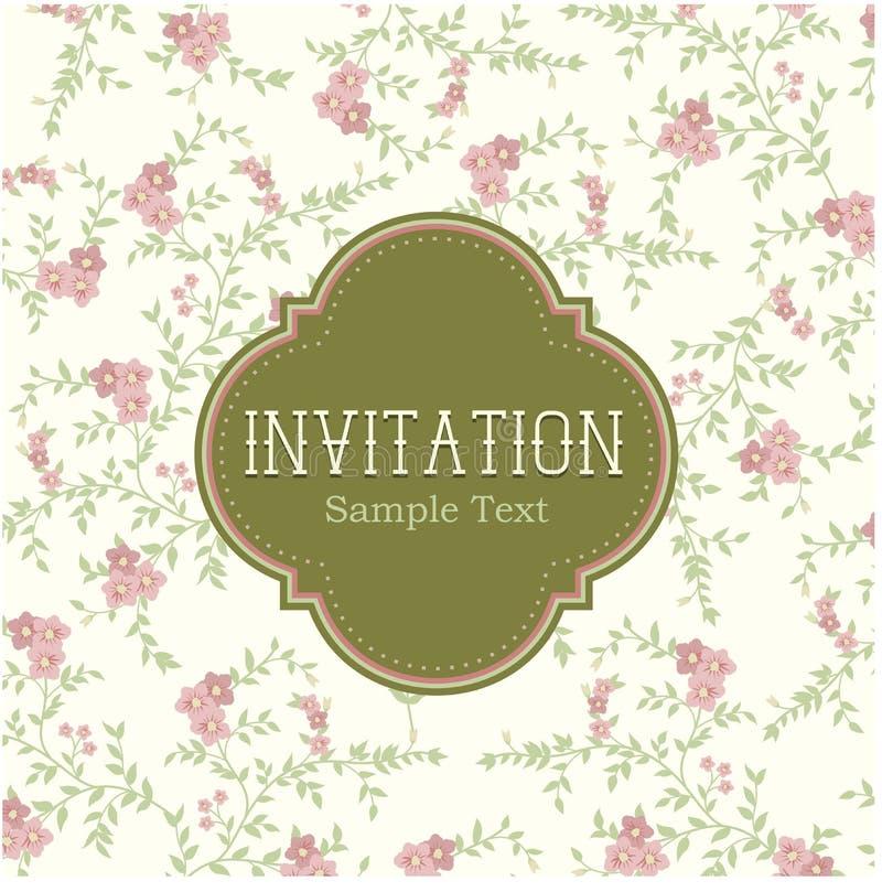 Carte florale d'invitation de cru illustration de vecteur
