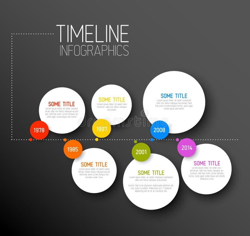 Calibre foncé horizontal de rapport de chronologie d'Infographic illustration libre de droits