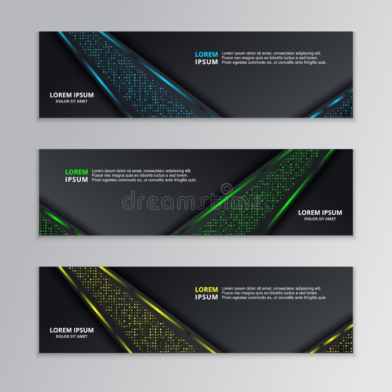 Calibre foncé rougeoyant de bannière de techno, vecteur au néon moderne de fond de conception illustration libre de droits