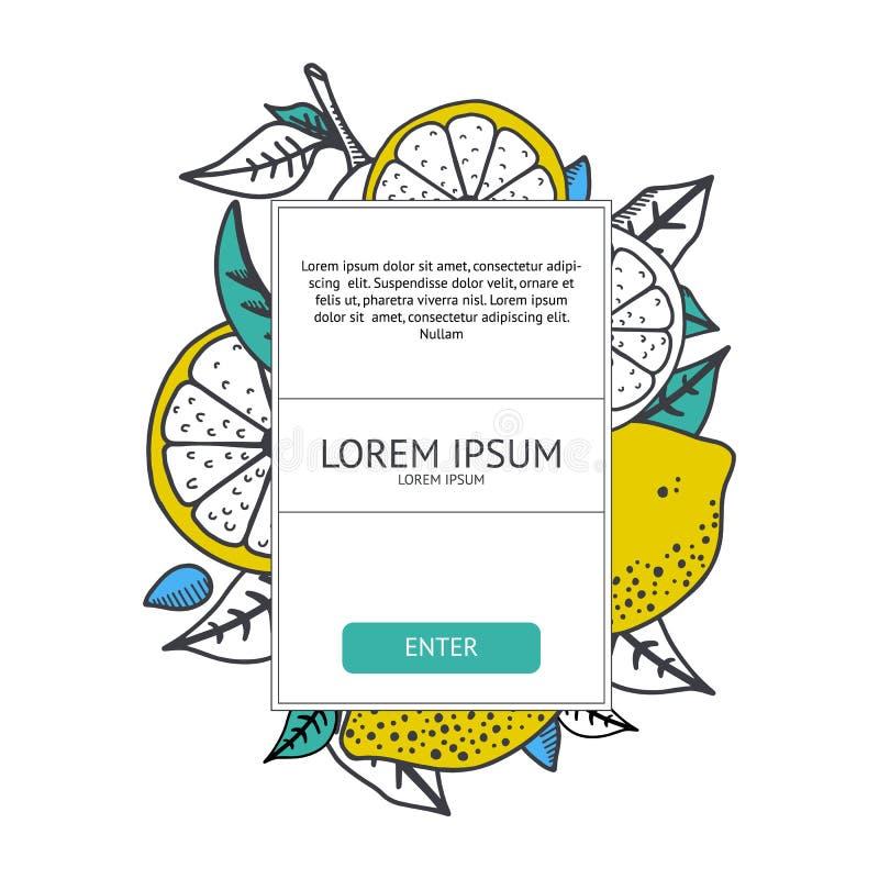 Calibre frais de conception d'agrume Bannière saine et fraîche de citrons Fruits jaunes et feuilles vertes sur le fond blanc Illu illustration de vecteur