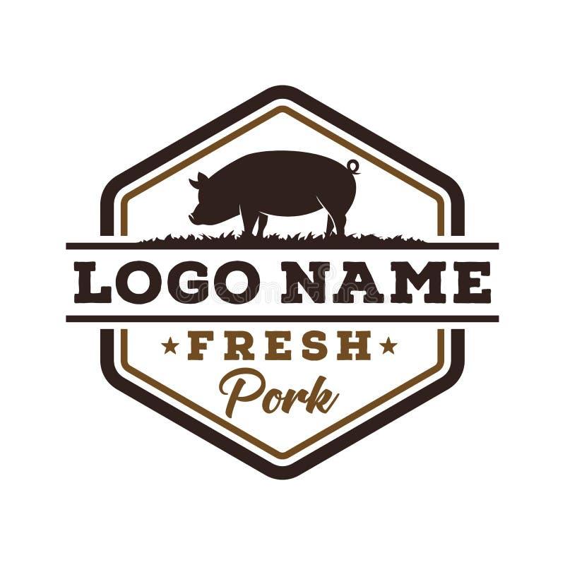 Calibre frais de conception de logo de porc de cru illustration stock