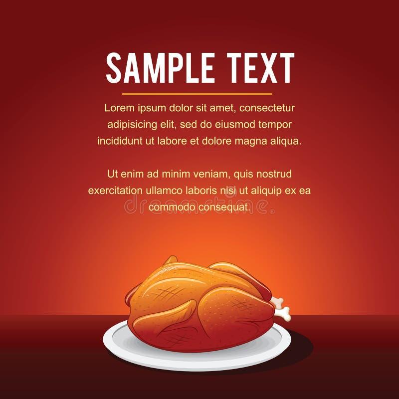 Calibre Fried Chicken de fond de vecteur d'aliments de préparation rapide illustration de vecteur