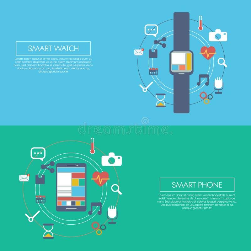 Calibre futé portable d'infographics de technologie illustration stock