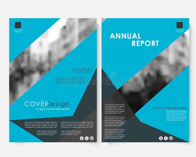 Calibre géométrique bleu de conception de couverture de rapport annuel de vecteur avec la photo brouillée Site Web de présentatio illustration de vecteur